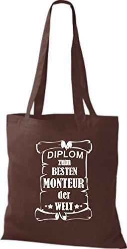 shirtstown Borsa di stoffa DIPLOM PER MIGLIOR Monteur DEL MONDO Marrone