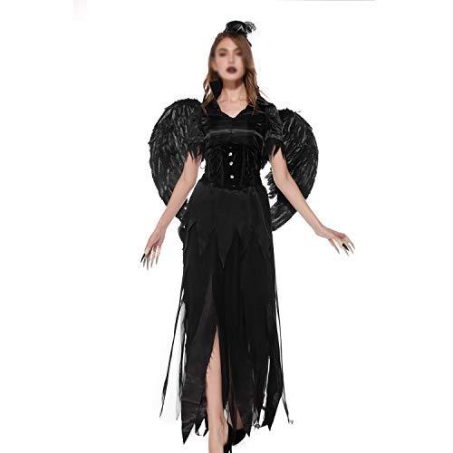 Mit Frau Hut Kostüm Schnee - YCLOTH Halloween-Kostüm, 2019 Königin-Geist-Hexe-Rolle, die Nachtklub-Stadiums-Kostüm-Kleid, mit Einer Keule schlagende Chirstmas-Partei spielt-Black-L