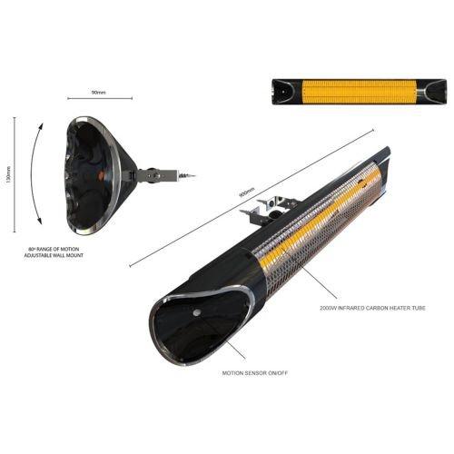 Genius Sunshine Blade | Infrarot-Heizstrahler inkl. Wandmontagezubehör | Carbonfaser | 220-240 V | 1700 – 2150 W | LED-Display | NEU - 7