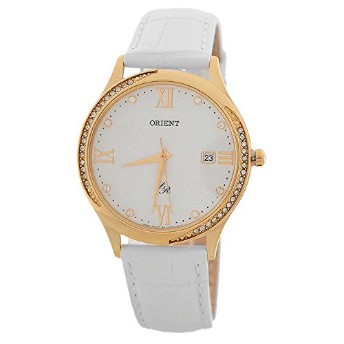 ORIENT WOMEN'S 36.5MM LEATHER BAND GOLD PLATED CASE QUARTZ WATCH FUNF8004W0