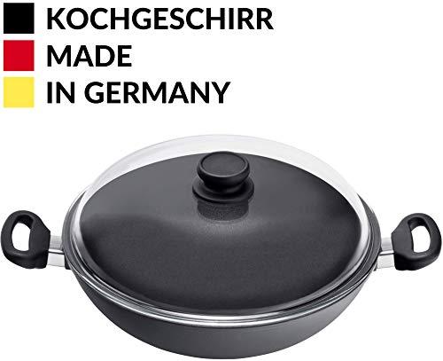 mit Deckel 32 cm I Feste Griffe I Elektroherd Induktionsherd Ceranfeld Gasherd I Made in Germany I Backofenfest bis 240 Grad I Glasdeckel I Ofen I Wokpan ()