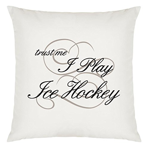 Trust Me I Play Ice Hockey Design Large Cushion Cover with Filling -