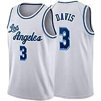 Camiseta de Baloncesto Davis # 3 Lakers, Chaleco Deportivo de Entrenamiento con Bordado Retro para jóvenes, Camiseta Transpirable y de Secado rápido S-XXL-White-L