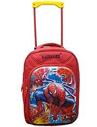 2b0a3881b6c1 Batu Lee Spiderman Polyester 18-inch Red Waterproof Trolley Backpack for  Boy s