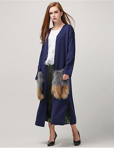 Xuanku donne's autunno casual attaccabile pelliccia naturale tasche cardigan lungo trench coat a maglia giacca a vento di moda,one-size,blu navy