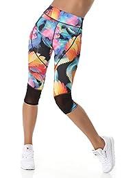 Sport Leggings Damen Capri Laufhose (3/4 Länge, High-Waist / hoher Bund) Sporthose Jogginghose Leggins Sommerhose bunt gemustert