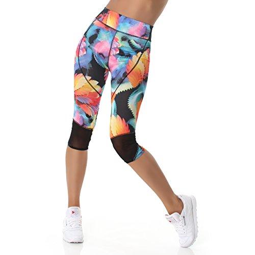 Sport Leggings Damen Capri Laufhose (3/4 Länge, High-Waist / hoher Bund) Sporthose Jogginghose Leggins Sommerhose bunt gemustert (L bis XL,...