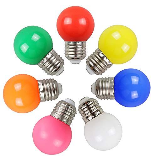 E27 Bombilla LED colorida, 2W Color Edison Cap Nut Luz LED, Lámpara de ahorro de energía de color mezclado, 200LM, AC220V-240V, Día festivo, Fiesta, Navidad, traje de 7 colores