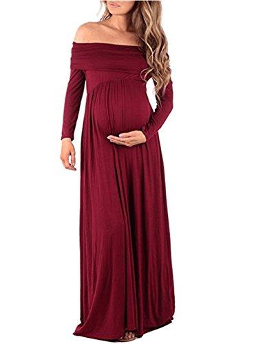 HAHAEMMA Damen Umstandskleid Schwangerschaftskleid schulterfrei Elegantes Kleid für Schwangere Frauen Off Shoulder Kleider Langarm Stretch(WR,XL)