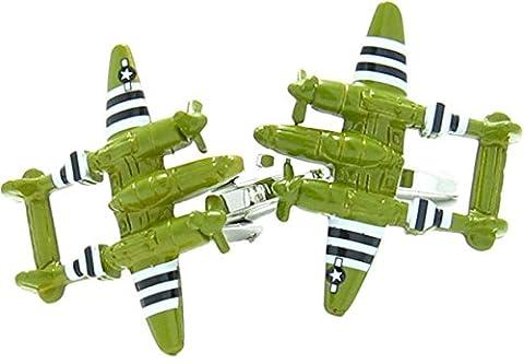 3D Twin Prop Plane Cufflinks Green Colour Swivel Bar