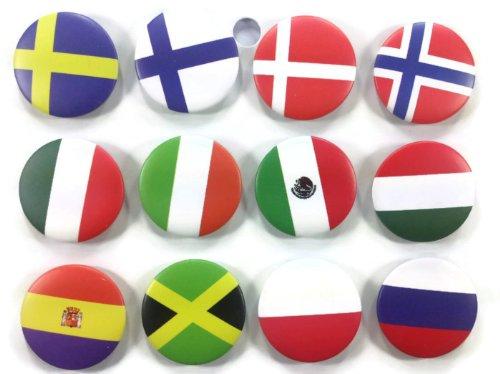 The Bigger vivider 4,4cm Viel 12Awesome Pin Button National Land Flagge # 2PR
