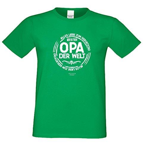 Herren Fun T-Shirt als witziges Weihnachtsgeschenk Bester Opa der Welt für Ihren Großvater auch in Übergrößen 3XL 4XL 5XL Farbe: hellgrün Hellgrün