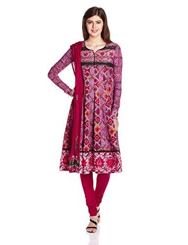 Rain and Rainbow Women's Anarkali Salwar Suit (SKD-4413-AW/27-19_Fuschia_M)