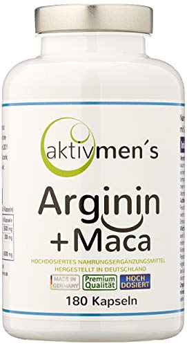 aktivmen´s Arginin + Maca hochdosiert - für stark aktive Männer, von Experten* geprüft - 100{3b1210ce24c7188c74b440c1c8de483a82c300abd19032f9986b50b05b693ddf} vegan, 180 Kapseln, L-Arginin Base 3600 + Maca 6000 (Maca Wurzel Extrakt 20:1) 1 Dose (1 x 140 g)