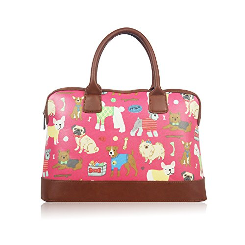 Damen Wachstuch Hunde Reisetasche Weekend Travel Schultertasche Handtasche Damen Rose