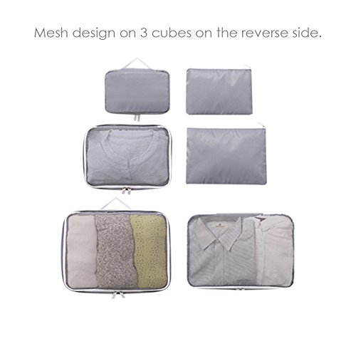 Kleidertaschen, FILWO Kofferorganizer 6 in 1 Packwürfel Leicht Tragbar Wasserdicht Packing Cube in Koffer Wäschebeutel Schuhbeutel Kosmetik Aufbewahrungstasche während der Reise (Grau)