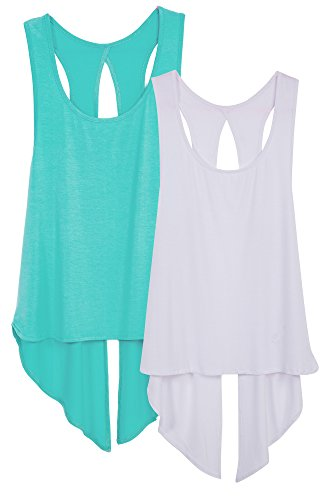 icyzone Damen Tank Tops Casual Kurzarm Rückenfrei Shirts für Yoga Workout (M, Pool Blue/White)