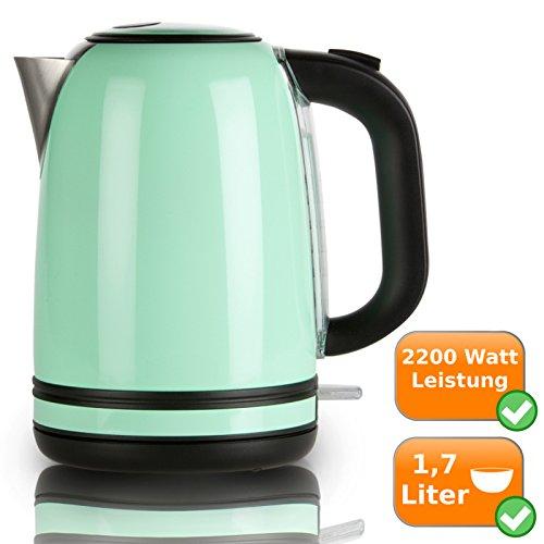 Retro Wasserkocher aus rostfreiem Edelstahl, 1,7Liter Fassungsvermögen, 2200Watt, pastell-grün