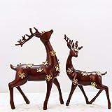 Ornamente Home Decorations_Modern und Einfache Kreative Sika Deer Harz OrnamenteWohnzimmer Schränke Home Dekorationen High-Grade, Holz Farbe, große 17 * 7 * 25 / Kleine 14,5 * 7 * 24