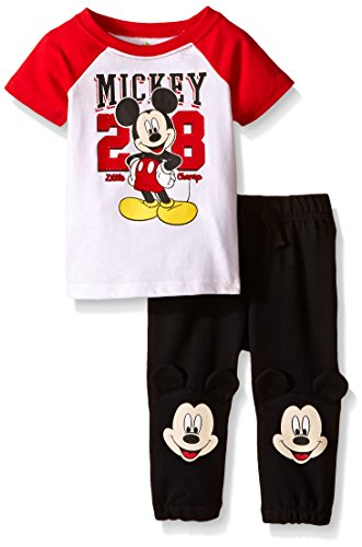 Terry Jog Set (Disney Baby Boys' Mickey Mouse Jog Set, Multi/Black, 6-9 Months (Pack of 2))