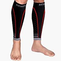 Satinior 1 Pair Calf Compression Sleeves Men Women Leg Support Sleeve Socks, Runners Shin Guards Sleeves for Running, Shin Splint and Calf Pain Relief, Boost Circulation and Recovery (Black/Red, S/M)