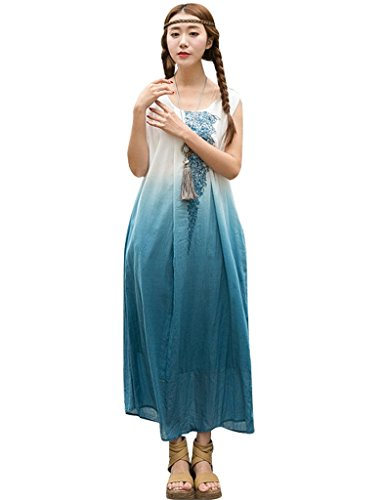 Youlee Frauen Gestickte Steigung-Farben-Sleeveless Kleid Blau
