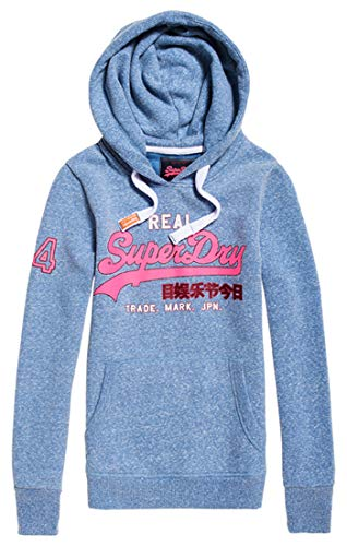 Superdry Damen Pullunder Vintage Logo Glitter Crack Ent, Blau (Cali Blue Snowy Um0), Small (Herstellergröße: 10)