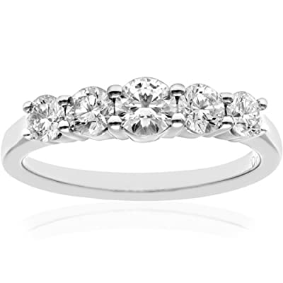 Naava Platinum 5 stone Eternity Ring, IJ/I Certified Diamonds, Round Brilliant