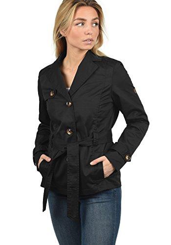 DESIRES Trixie Damen Trenchcoat Übergangsmantel Jacke Mit Reverskragen Und Gürtel, Größe:M, Farbe:Black (9000)