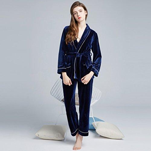 Pigiama in velluto oro set casa a maniche lunghe per il tempo libero sexy sezione sottile donne ( Color : Blue-B , Size : M ) Blue-a
