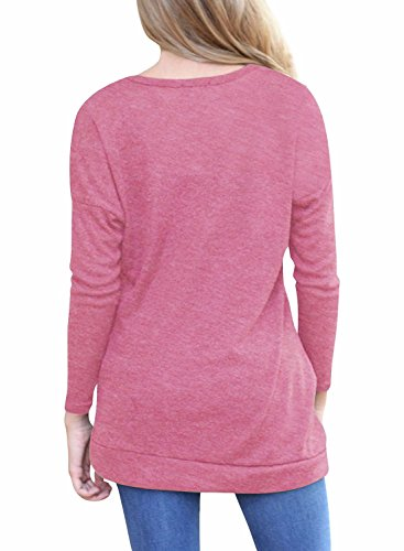 Femmes à manches longues en vraie couleur Loose Button Trim Blouse Round Neck Tunic Top T-Shirt Rose