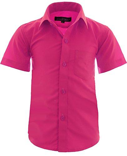 A0 Kinder Party Hemd Freizeit Hemd Bügelleicht Kurz Arm Gr.86-158 (86-92, Pink)