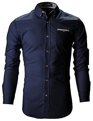 FLATSEVEN Herren Slim Fit Casual Business Hemden mit Karierte Tasche (SH131) Marineblau, L