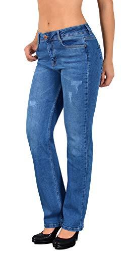 ESRA Damen Jeans High Waist Jeanshose Straight Leg Damen Hochbund Hosen bis Übergröße J23 (High Jeans Waist Leg)
