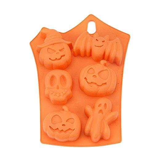 Zantec Kuchen Cupcake Dekor Backform, 6 Grid Halloween Kürbis Silikonform Zucker Schokolade (Für Geist Halloween Gelten)