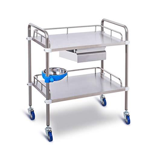 HMHD 2-Etagen Küchenwagen Mit Schubladen, Eimer | Servierwagen | Abräumwagen | Haushaltswagen | Küchenregal | Rollwagen | Küchenrollwagen | Beistellwagen | Laden Sie 100 kg 660 * 440 * 860mm
