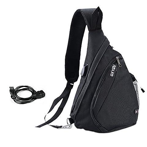 Vbiger Brusttasche Schultertasche Herren Sling Rucksack Outdoor Brusttasche Sport Schultertasche mit USB Kabel und (Herren Rucksäcke)