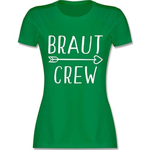 Damen Grüner Kostüm Pfeil - JGA Junggesellinnenabschied - Braut Crew Pfeile - L - Grün - L191 - Damen Tshirt und Frauen T-Shirt
