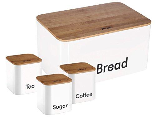 Homestyles Holz Top (Top Qualität Set Tee, Kaffee und Zucker Behälter und stilvoller trendiger Brotkasten mit Bambus Schneidebrett, Aufbewahrungsbehälter, Holzabdeckung Töpfe Aufbewahrung Glas Holz weiß)