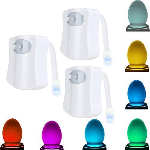 JESWELL Luce Notturna WC Led Lampada Toilette Con Sensore Di Movimento, 8 cambiamento di colori, Alimentato da Batteria, Luce WC per Bagno (Confezione da 3)