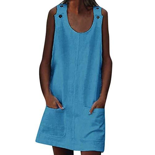 Momoxi Mini Robe Femmes,Vêtements D'été Florale Vintage Col Rond sans Manches Robe Loisirs Poche Manches Courtes Shirt de Plage Robe de Cocktail Bohème Elégante 2019