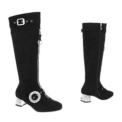 a43959c0bec564 ... Ital-Design Klassische Stiefel Damenschuhe Klassische Stiefel Pump  Moderne Reißverschluss Stiefel Schwarz AE79P