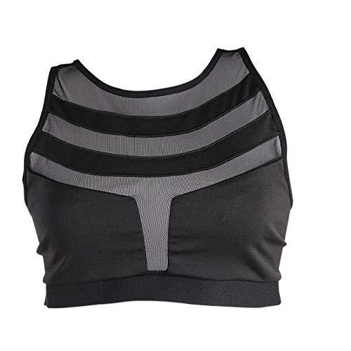 SHUCHANGLE Frauen Sport-BH Schnell Trocken Mesh Atmungsaktiv Fitness Yoga Laufweste Draht Frei Nahtlose Top, Schwarz, M