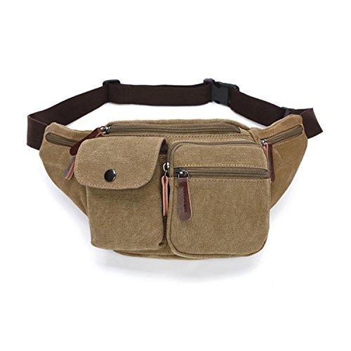 Outreo Marsupi alla Moda Borsa da Uomo Sport Bag Borse da Viaggio Tasca Outdoor Borsello Sacchetto Vintage Marsupio per Escursioni Trekking Beige