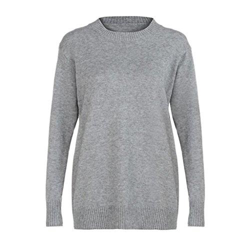 Damen Sweatshirt LUVERSCO Lange Ärmel Oberteile Sweatshirt Beiläufig Lose Strickwaren Zur Seite fahren (M) (Lange Stricken Schal Logo)