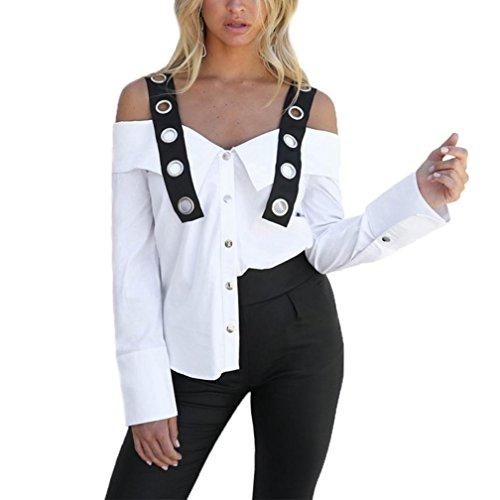 Frauen Langarm Weiß Solid Button Kalt Schulterfrei Bluse Top T-Shirts