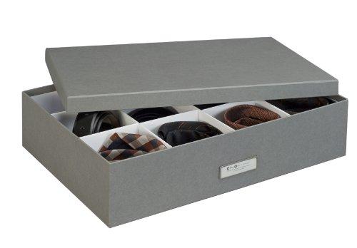 Bigso Box of Sweden Sortierkasten mit 12 Fächern - Aufbewahrungsbox mit Deckel und Griff für Accessoires, Bürobedarf, Kosmetik usw. - Fächerbox aus Faserplatte und Papier - hellgrau