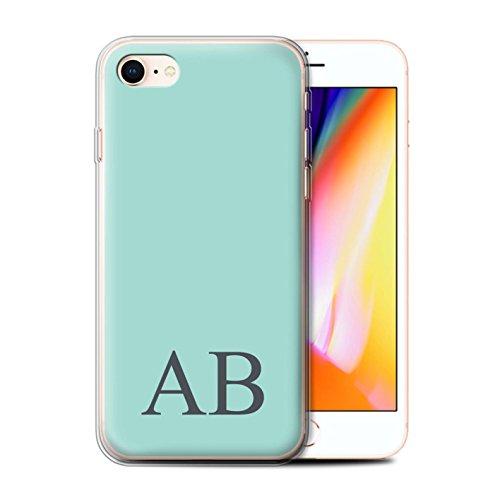 Personalisiert Pastell Monogramm Gel/TPU Hülle für Apple iPhone 8 / Gelbes Design / Initiale/Name/Text Schutzhülle/Case/Etui Türkis