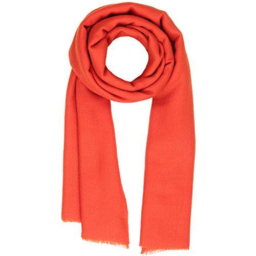 Streifen-schal Stricken (KASHFAB Kashmir Frauen Herren Winter Mode Solide Schal, Wolle Seide stole, Weich Lange Schal, Warm Paschmina Tomate Rot)