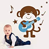 HULINJI Wandtattoos Wise Cute Monkey Playing Guitar Art WandtattoosWandaufkleber Wandbild für Kinderzimmer Wanddekoration